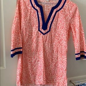 J.Crew Coral and blue tunic